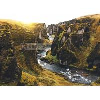 Karo-art Schilderij - IJslandse Canyon , Multikleur , 3 maten , Premium print