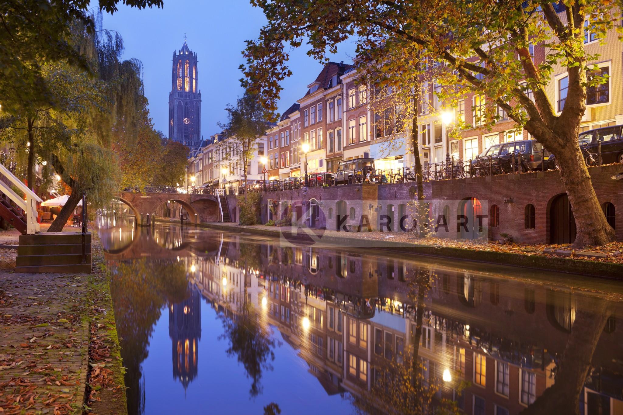 Schilderij - Utrecht skyline Domtoren