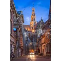 Karo-art Schilderij - Haarlem, grote Bavo kerk , Multikleur , 3 maten , Premium Print