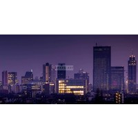 Karo-art Schilderij - Rotterdam Skyline, Zwart Paars Geel , 3 Maten , Premium Print