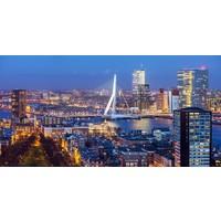 Karo-art Schilderij - Rotterdam Erasmus brug in de avond , Multikleur , 3 maten , Premium Print