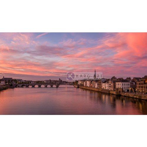 Karo-art Schilderij - Maastricht Zonsondergang, Sint Servaas brug, print op canvas, premium print