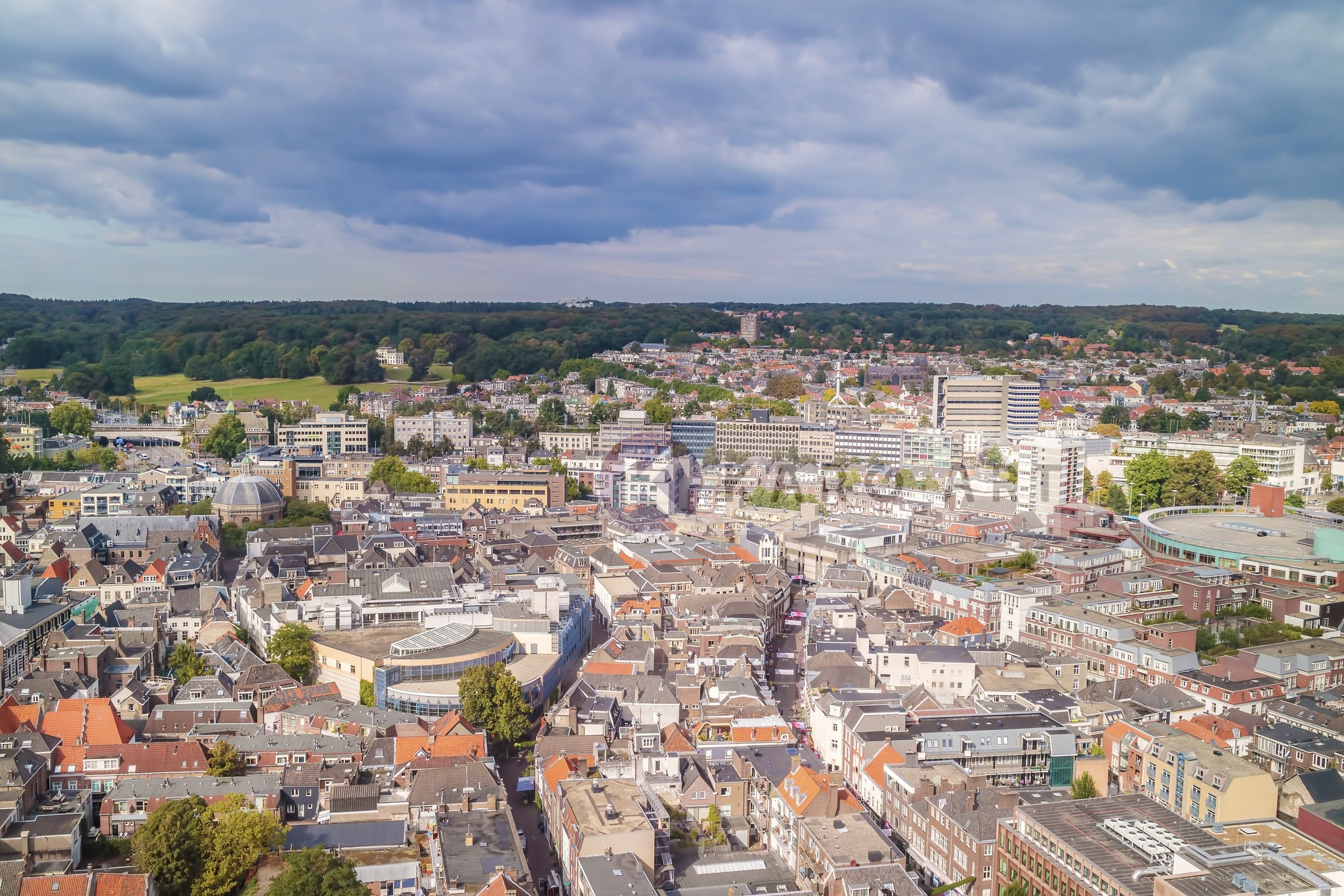 Schilderij - Arnhem vanuit de lucht, Multikleur , 3 maten , print op canvas, premium print