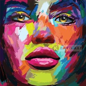 Karo-art Schilderij - Kleurrijke vrouw