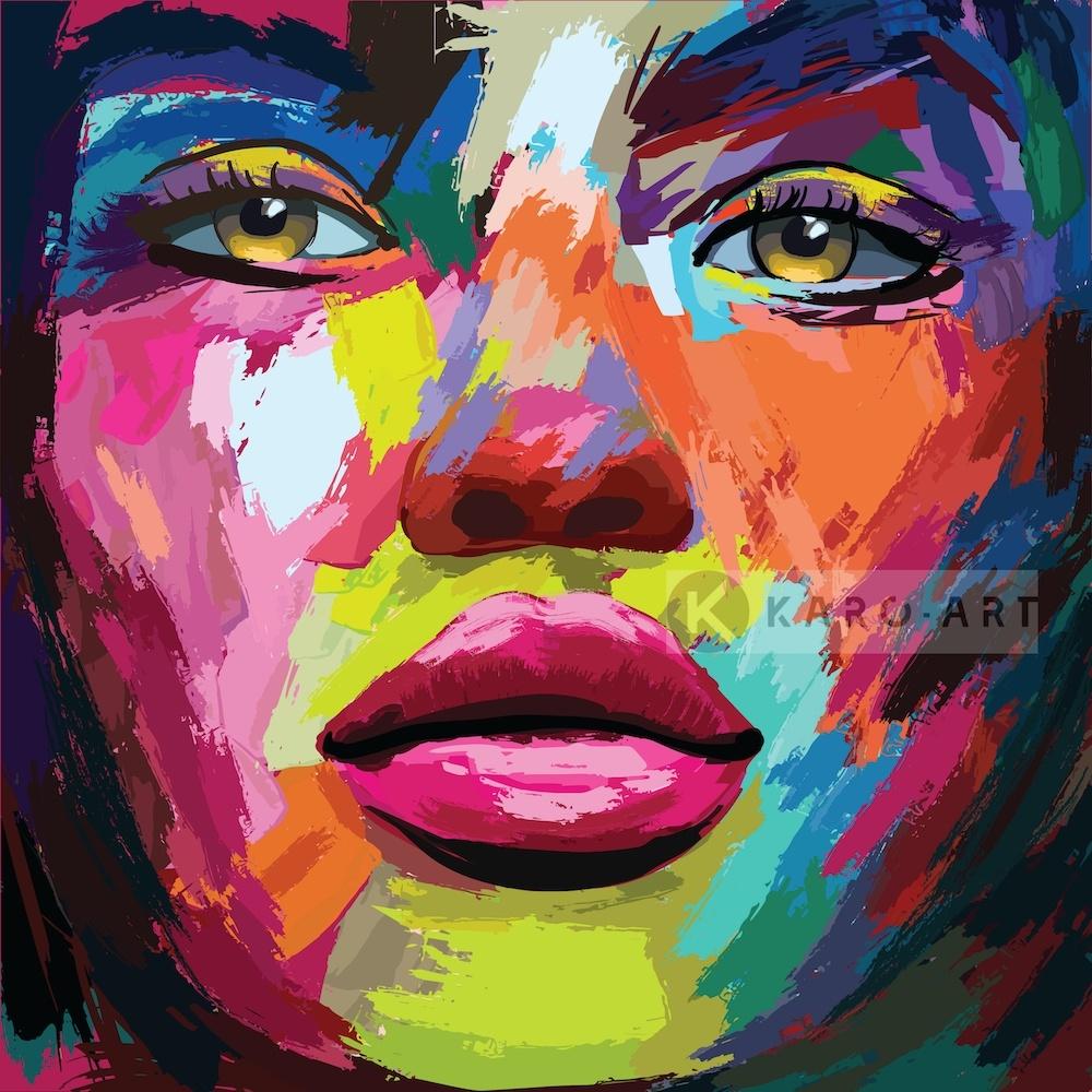 Schilderij - Kleurrijke vrouw, print op canvas, multikleur, premium print