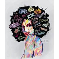 Karo-art Schilderij - Urban lady, multikleur, 3 maten , premium print