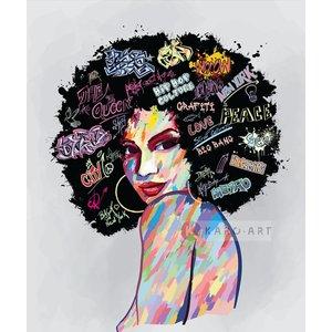 Karo-art Schilderij - Urban lady, multikleur, premium print