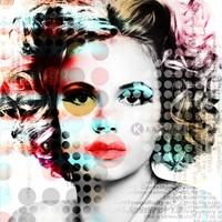 Karo-art Schilderij - Moderne vrouw, print op canvas, multikleur