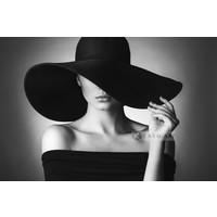 Karo-art Schilderij - Vrouw in zwart-wit , 2 maten , Premium Print