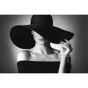 Karo-art Schilderij - Vrouw in zwart-wit