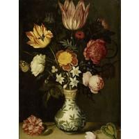 Ambrosius Bosschaert, Stilleven met bloemen in een Wan-li vaas 60x90cm, Rijksmuseum, print op canvas, premium print, oude meester