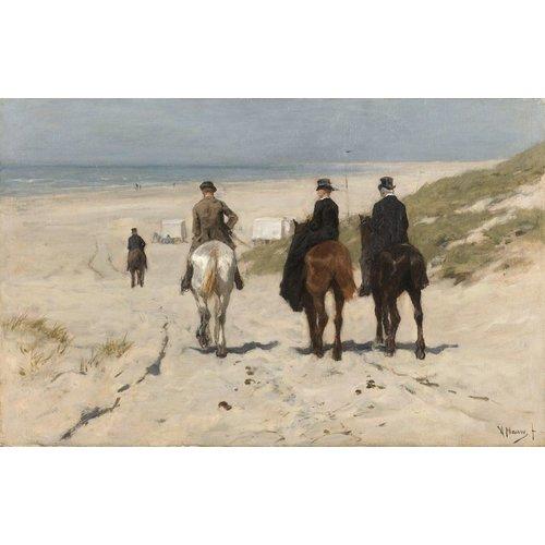 Anton Mauve, Morgenrit langs het strand 90x60cm, Rijksmuseum, print op canvas, premium print, oude meester