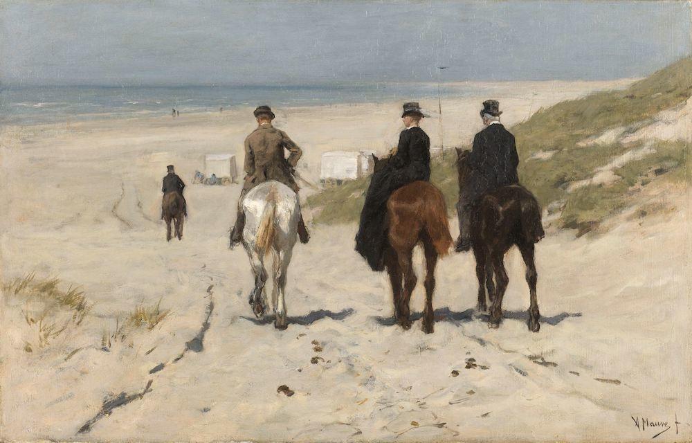 Anton Mauve, Morgenrit langs het strand 90x60cm, Rijksmuseum, print op canvas, premium print, oude m