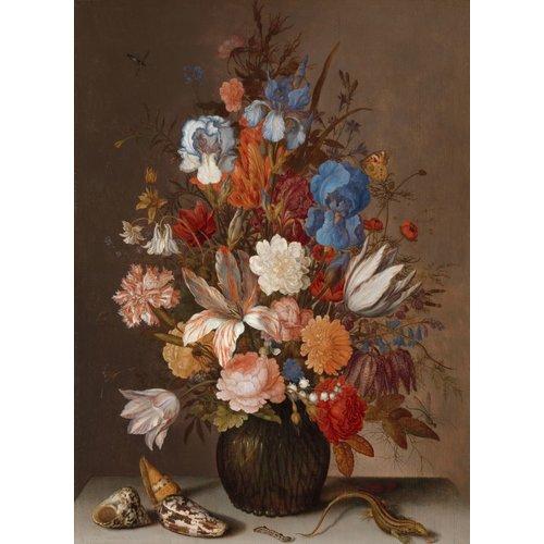 Balthasar van der Ast, Stilleven met bloemen 60x90cm, Rijksmuseum, print op canvas, premium print, oude meester