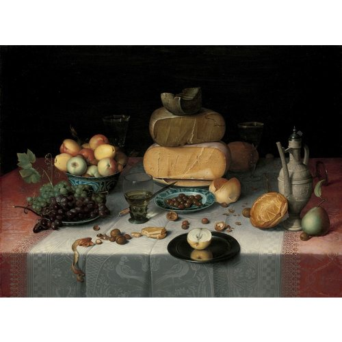 Floris Claesz. van Dijck, Stilleven met kazen 90x60, Rijksmuseum, premium print, print op canvas, oude meester