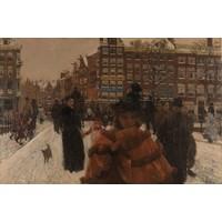 George Hendrik Breitner, De Singelbrug bij de Paleisstraat in Amsterdam 90x60cm, Rijksmuseum, premium print, print op canvas