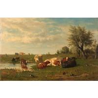 Gerard Bilders, Koeien in de weide 90x60cm, Rijksmuseum, premium print, print op canvas, oude meester