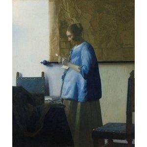 Johannes Vermeer - Brieflezende vrouw 60x90cm, Rijksmuseum, premium print, print op canvas, oude meester