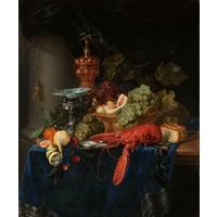 Pieter de Ring - Stilleven met een gouden bokaal 70x90cm, Rijksmuseum, premium print, print op canvas,  oude meester
