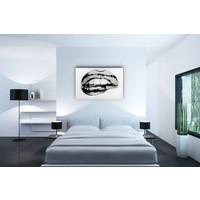 Karo-art Schilderij - Metallic lippen, zwart/wit, 3 maten , print op canvas, premium print