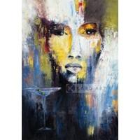 Karo-art Schilderij - Abstracte vrouw, Multikleur , 3 maten ,print op canvas , Wanddecoratie