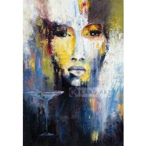 Karo-art Schilderij - Abstracte vrouw, print op canvas