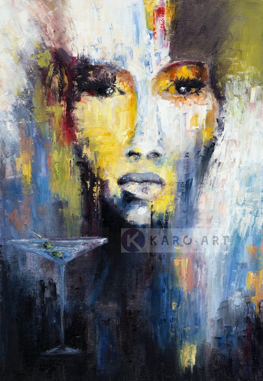 Schilderij - Abstracte vrouw, print op canvas