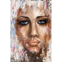 Karo-art Schilderij - Abstracte vrouw II, Multikleur , 3 maten , print op canvas , Wanddecoratie