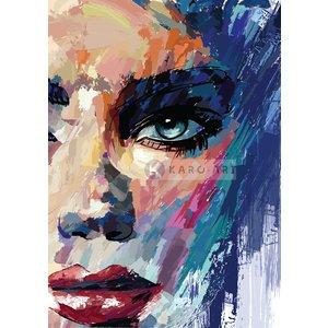 Karo-art Schilderij - Abstracte vrouw III, Multikleur , 3 maten , print op canvas, Wanddecoratie