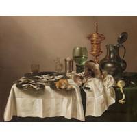 Willem Claesz. Heda - Stilleven met vergulde bokaal 90x60cm, Rijksmuseum, premium print, print op canvas, oude meester