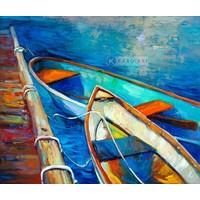 Karo-art Schilderij - Aangemeerd, print op canvas , Multikleur , 3 maten , Premium Print