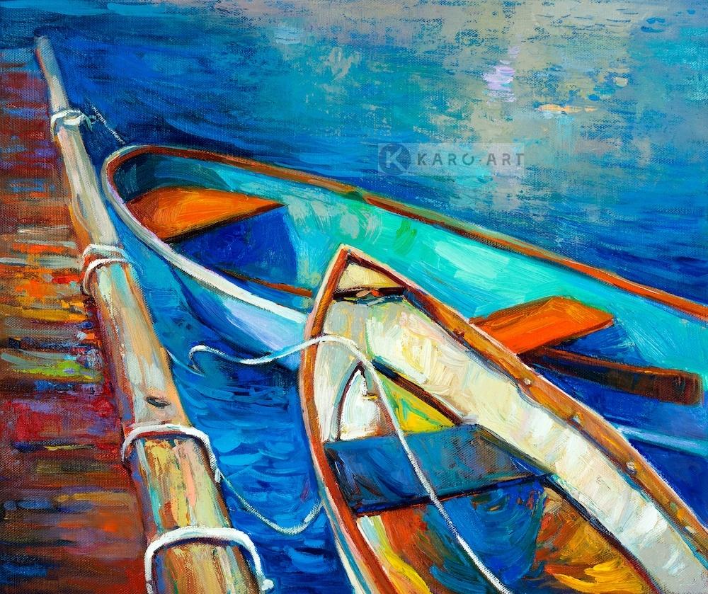 Schilderij - Aangemeerd, print op canvas