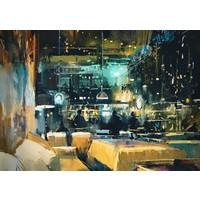 Karo-art Schilderij - Druk restaurant, Multikleur , 3 maten , print op canvas ,Wanddecoratie