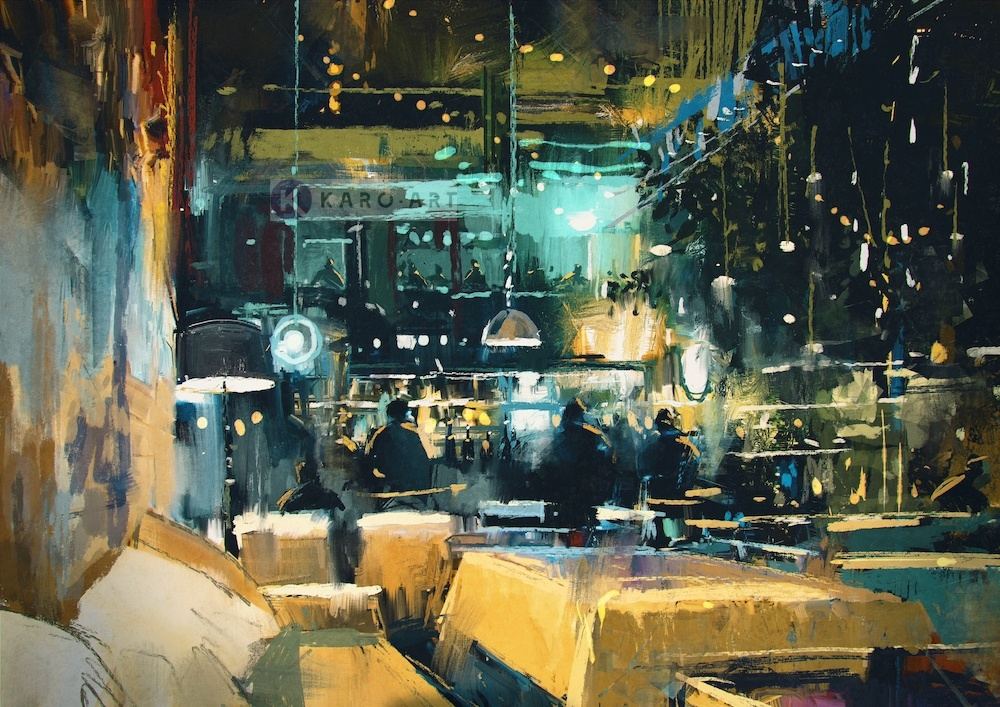 Karo-art Schilderij - Druk restaurant, print op canvas