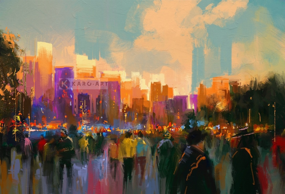 Schilderij - Zonsondergang in het park, print op canvas