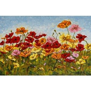 Karo-art Schilderij - Kleurrijke klaprozen, print op canvas