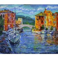 Karo-art Schilderij - Port Grimaud, Frankrijk, Multikleur , 3 maten ,Print op canvas , Wanddecoratie