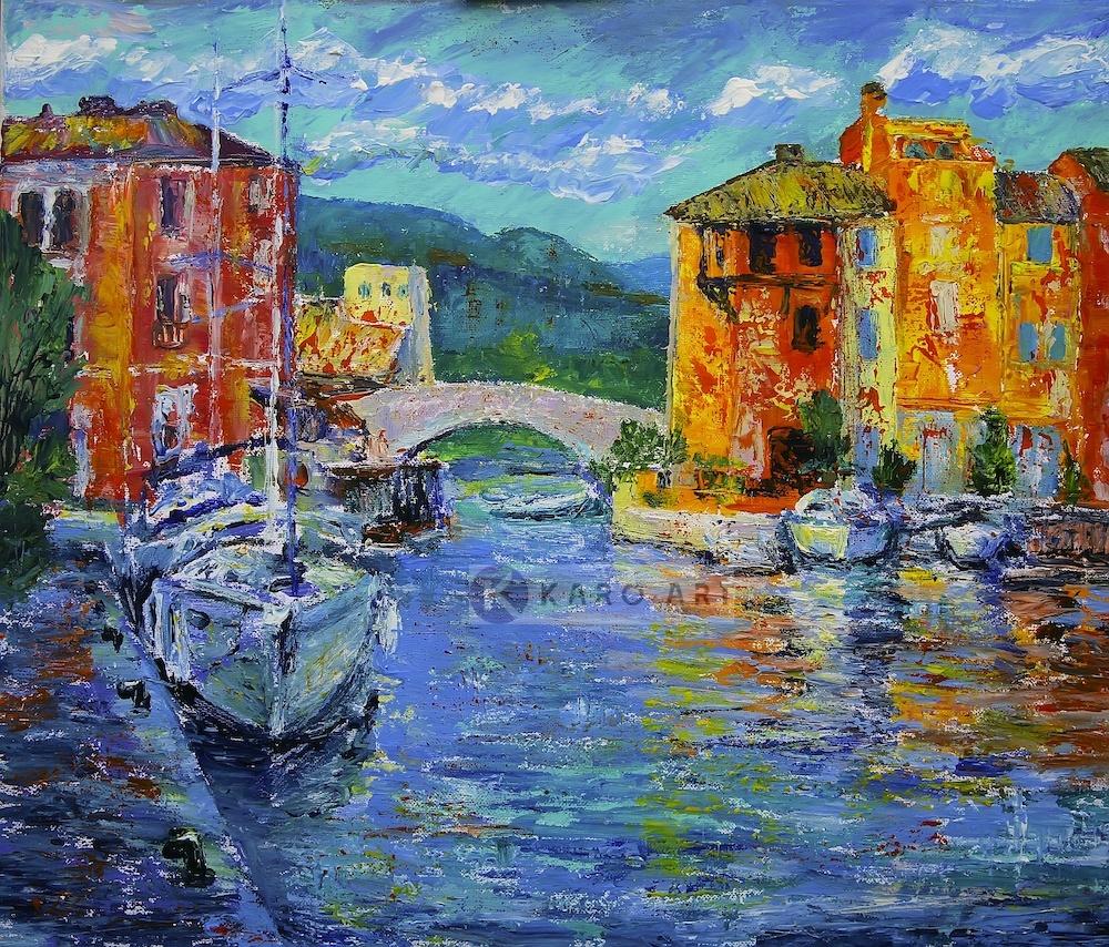 Schilderij - Port Grimaud, Frankrijk, Multikleur , 3 maten ,Print op canvas , Wanddecoratie