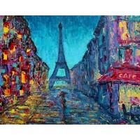 Karo-art Schilderij - Kleurrijk Parijs, Multikleur , 3 maten , print op canvas , Wanddecoratie