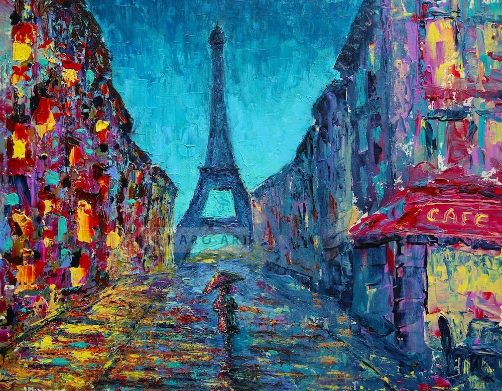 Schilderij - Kleurrijk Parijs, Multikleur , 3 maten , print op canvas , Wanddecoratie