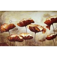 Karo-art Schilderij - Klaprozen veld, Beige Bruin , 3 maten , print op canvas , Wanddecoratie
