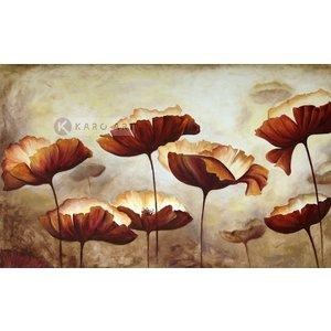 Karo-art Schilderij - Klaprozen veld, print op canvas