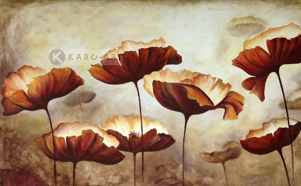 Schilderij - Klaprozen veld, print op canvas