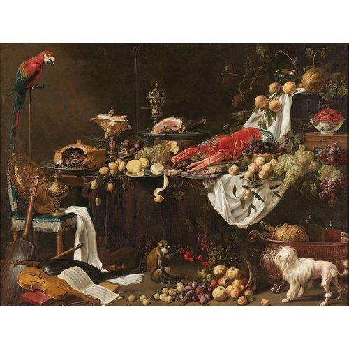 Adriaen van Utrecht - Pronkstilleven 90x70cm, Rijksmuseum, premium print, print op canvas, oude meester