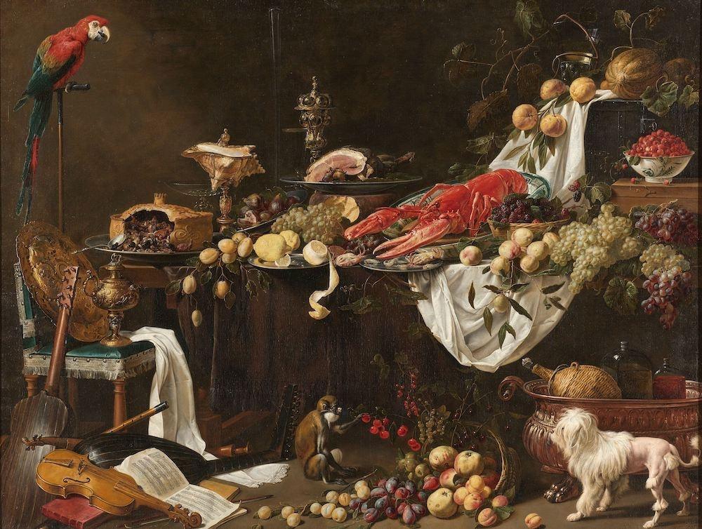 Adriaen van Utrecht - Pronkstilleven 90x60cm, Rijksmuseum, premium print, print op canvas, oude mees