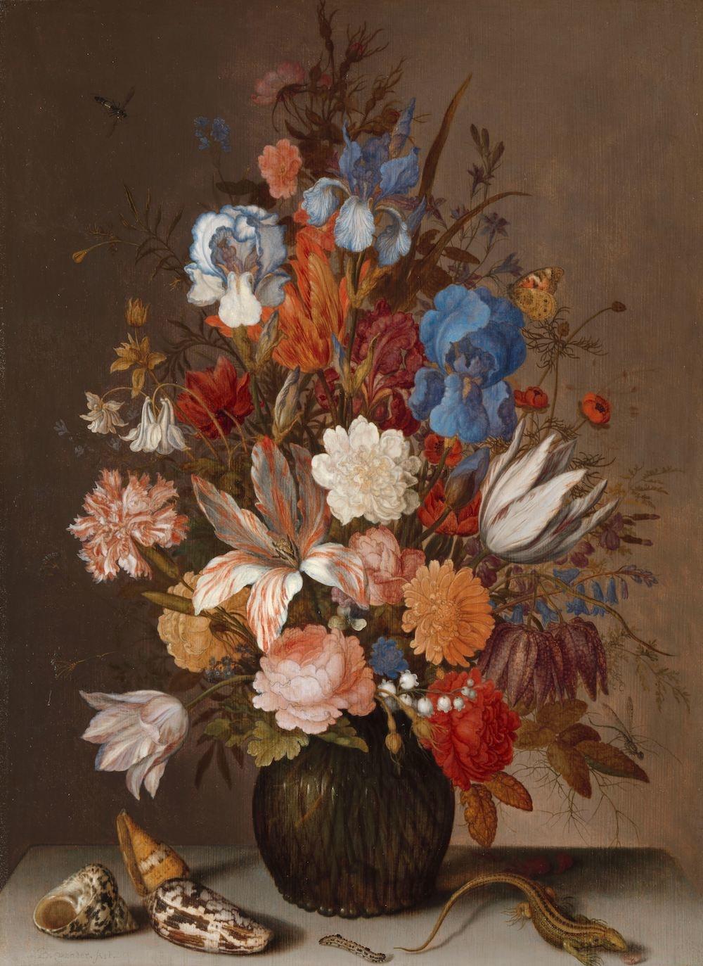 Balthasar van der Ast - Stilleven met bloemen 60x90cm, Rijksmuseum, print op canvas, premium print,