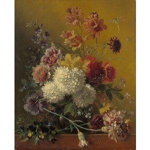 Georgius Jacobus Johannes van Os - Stilleven met bloemen, 60x90cm, Rijksmuseum, print op canvas, premium print