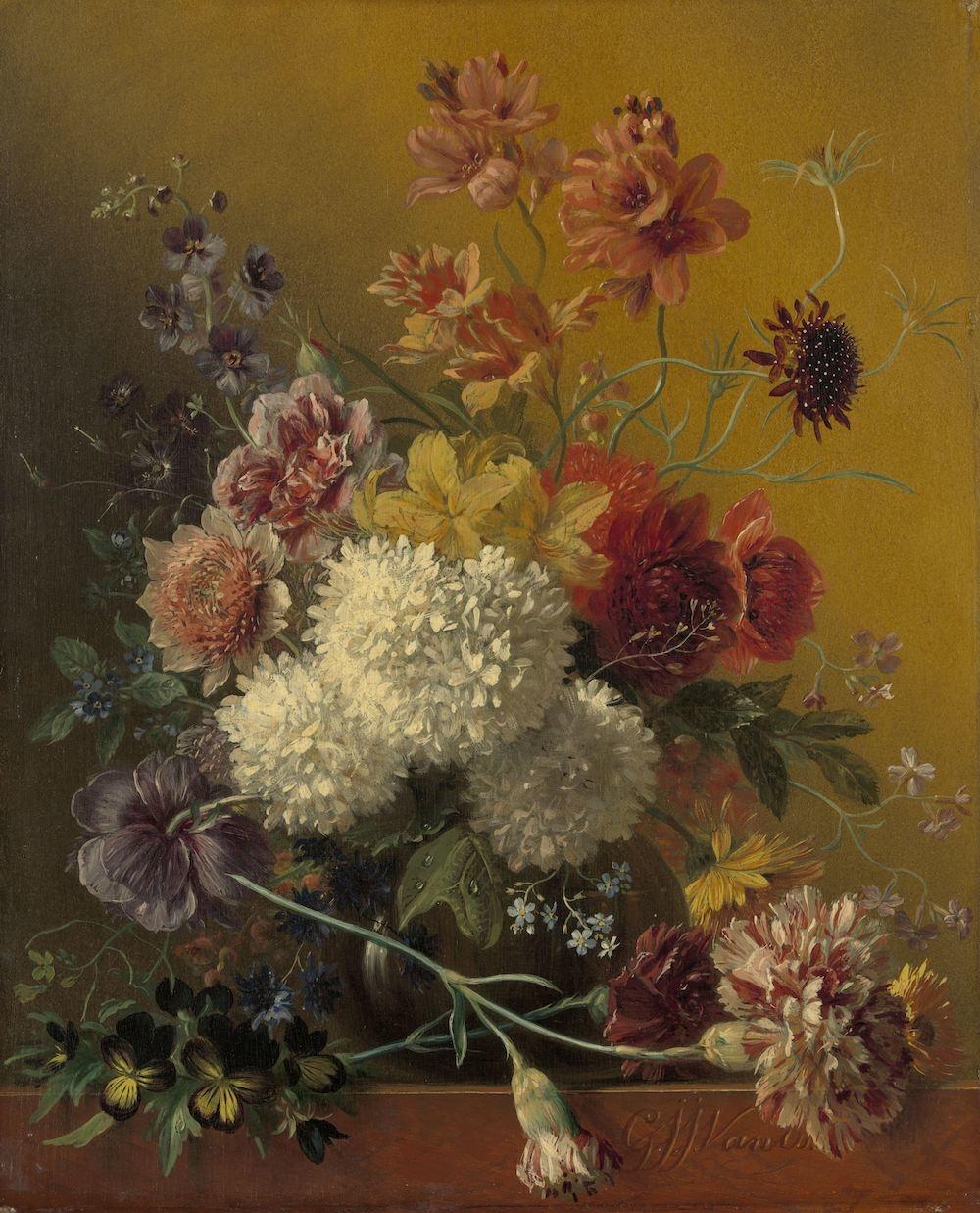 Georgius Jacobus Johannes van Os - Stilleven met bloemen, 60x90cm, Rijksmuseum, print op canvas, pre
