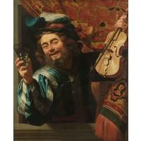 Gerard van Honthorst - Een vrolijke vioolspeler 60x90cm, Rijksmuseum, oude meester, print op canvas, premium print
