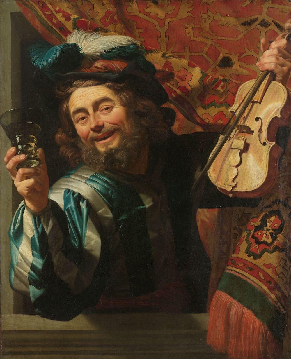 Gerard van Honthorst - Een vrolijke vioolspeler 60x90cm, Rijksmuseum, oude meester, print op canvas,